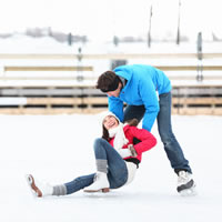 Couple enjoying a ice skating date